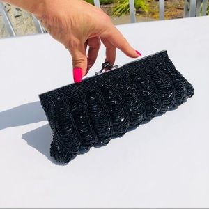 J&X NY evening nap purse clutch black beaded